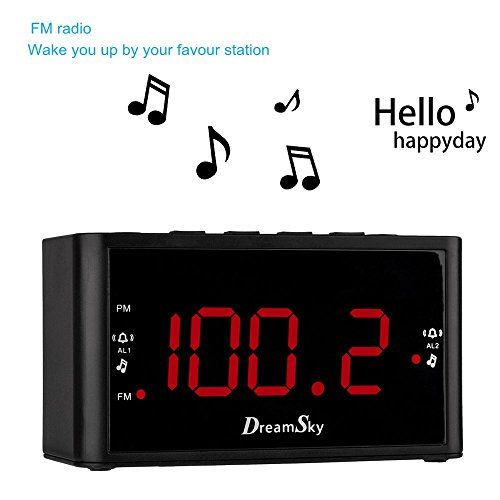DreamSky Digital Alarm Clock Radio With AM FM Radios ,Dual Alarms , Snooze , Large LED Display With Dimmer , Battery Backup ,Sleep Timer