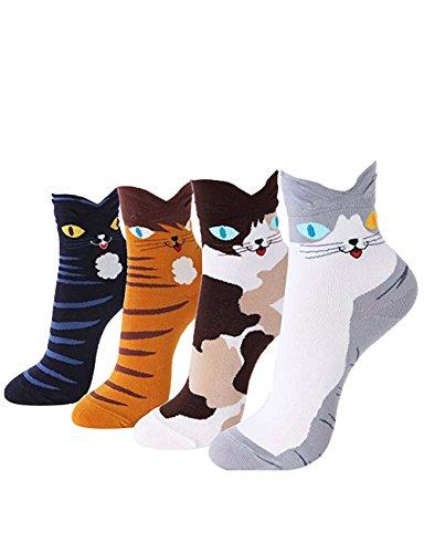 Women Socks Gift Set - Animal Cat Dog Art Cartoon Character Funny | Gift Socks | Christmas Gifts for Ladies, Girlfriend, Mom (Animal - Cute Cats)