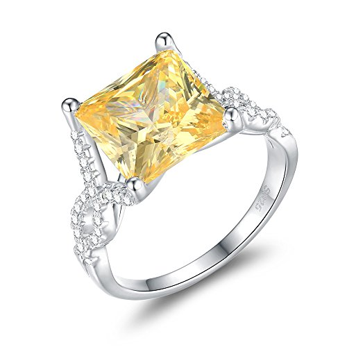 Mozume Women's 5.5ct Yellow Cubic Zirconia Princess Cut Ring Cocktail Solitaire 925 Sterling Silver Engagement Wedding (7)