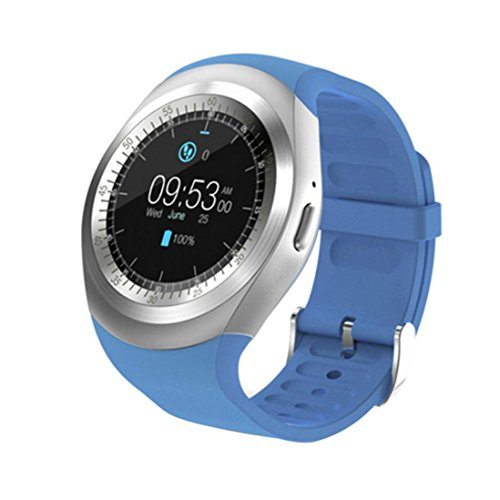 Price comparison product image Coerni 2018 New Designed Bluetooth Smart Watch Full Round Screen Smart Cell Phone Wrist Watch Support SIM Card for Android IOS Smartphones (Blue)
