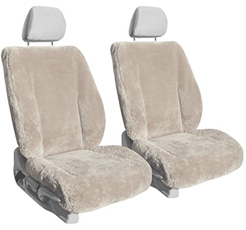 Front Seats: ShearComfort Custom Sheepskin Seat Covers for Dodge Neon (2001-2002) in Pearl for Buckets w/Adjustable Headrests (R/T Model)