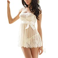 Ruzishun Womens Sexy Lingerie White Lace Nightwear Deals