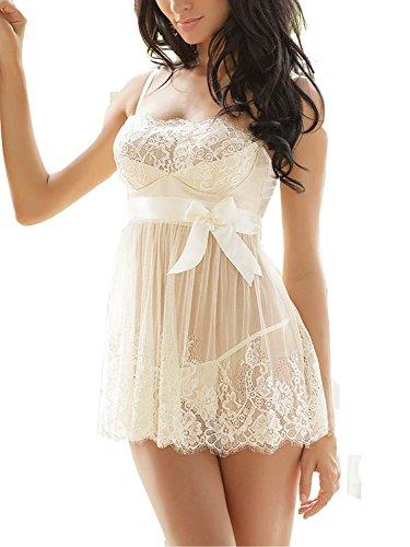 Ruzishun Women's Sexy Lingerie White Lace Nightwear Perspective Sleepwear Underwear (M)
