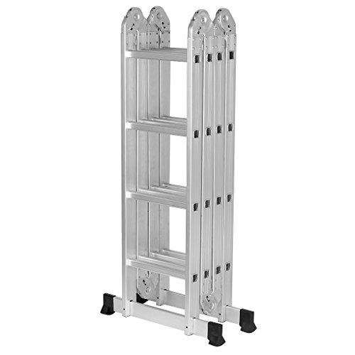Finether 15.4ft Heavy Duty Multi Purpose Aluminum Folding Extension Ladder with Safety Locking Hinges 330lb Capacity (New Non-slip Mat and Wheels for Free) by Finether (Image #4)