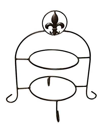 IRON FLEUR DE LIS DOUBLE PLATE HOLDER-16.5 INCHES TALL. (Wrought Iron Dessert)