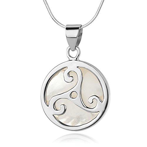 "Sterling Silver Triple Spiral Triskele Triskelion Celtic Mother of Pearl Shell Pendant Necklace 18"""