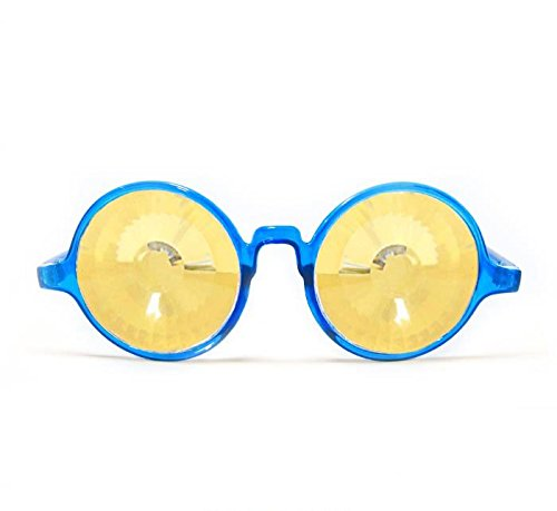 GloFX Transparent Blue Kaleidoscope Glasses - Gold Wormhole by GloFX