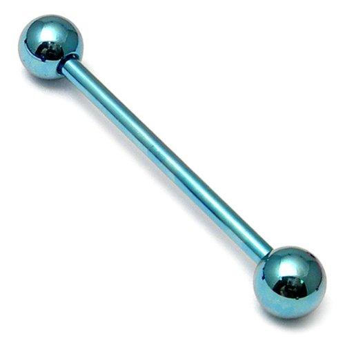 TDi bodyjewellery Barbell en titane 1.6 mm x 24 mm avec boules de 5 mm Bleu/glace