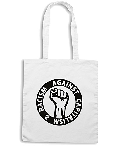 T-Shirtshock - Bolsa para la compra TCO0126 against capitalism and racism Blanco