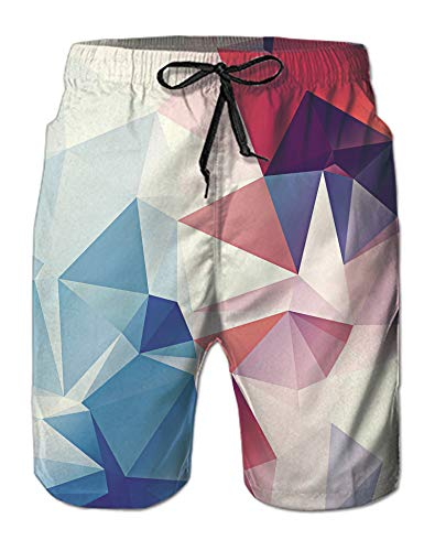 Leapparel Men's Cool Awesome Funny Swim Trunks Shorts Beachwear 3D Navy Blue Colorful Diamond Quick Dry Breathable Board Shorts Elastic Waist with Drawstring Mesh Lining Side Pockets XL