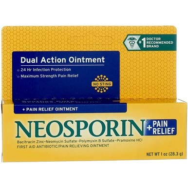 Neosporin Plus Pain Relief, Maximum Strength Antibiotic Ointment 1 oz (Pack of ()