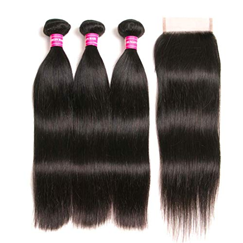 RUIMEISI Brazilian Straight Hair With Closure 3 Bundles Unprocessed Virgin Human Hair Bundles With Lace Closure Free Part Hair Extensions Natural Color(12/14/16+10 Inch