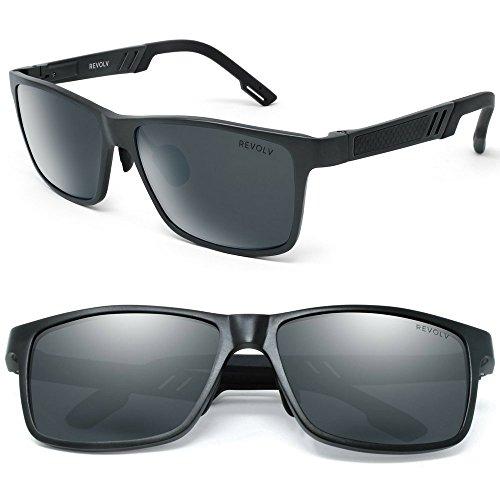 - Polarized Men's Sunglasses with Adjustable Aluminum Frame 146mm for Medium / Wide Faces (Matte Black Frame / Black Smoke Lens)