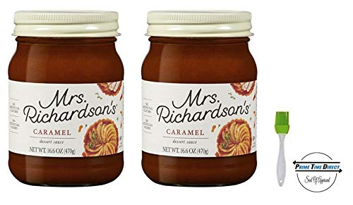 (Mrs Richardsons Caramel, 17 oz (Pack of 2) with Silicone Basting Brush in a Prime Time Direct Sealed Bag)