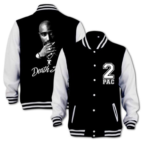 239915a6b97 Tupac Death Row Varsity College Jacket Black   White XXL - Buy Online in  Oman.