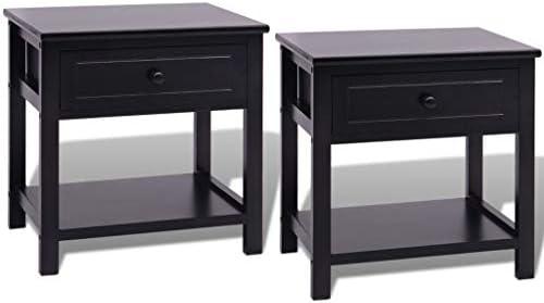 vidaXL 2X Bedside Cabinets Wood Black Bedroom Nightstand ...