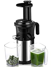 Biolomix BPA FREE 200W 40RPM Masticating Slow Juicer Low Speed Auger Fruit Vegetable Cold Press Juice Extractor Squeezer Stainless Steel