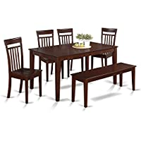 East West Furniture CAP6S-MAH-W 6-Piece Kitchen Table Set with Bench