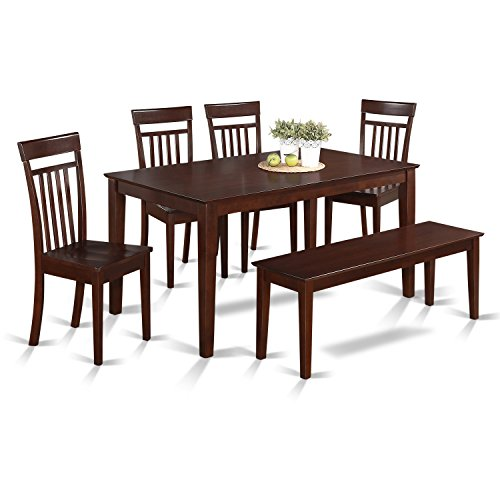 Dining Room Mahogany Bench - East West Furniture CAP6S-MAH-W 6-Piece Kitchen Table Set with Bench, Wood Seat, Mahogany Finish