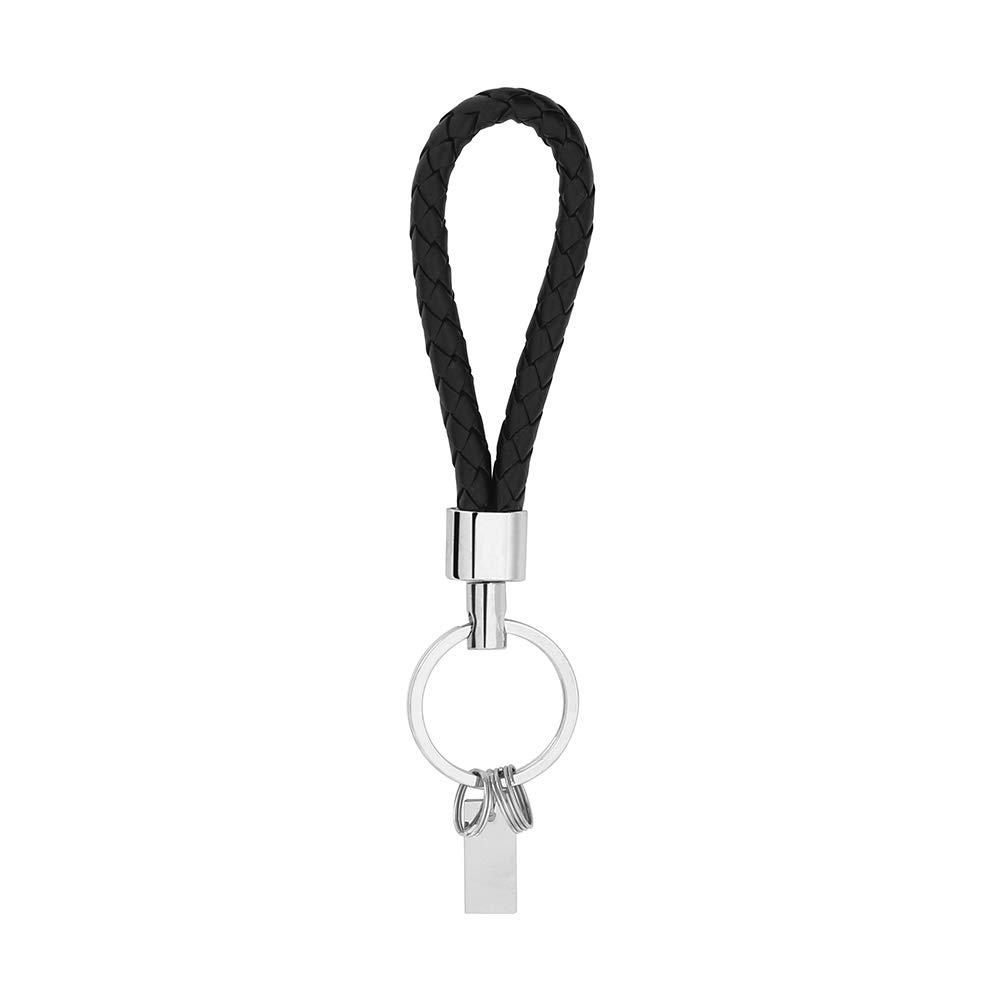 Yosoo 4pcs Mens Fashion Braided Leather Key Chains Handbags Charms Deluxe Key Holder Car Key Chain Key Ring Keyfob Car Keyring Keychain Gift Black