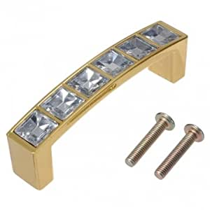 Cabinet Wardrobe Crystal Glass Diamond Square Knob Pull Handle --- Color & Size:gold M