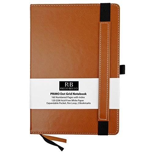 Dot Beaux (RICCO BELLO Primo Classic Dot Grid Notebook with Pen Loop/Hardcover, Fountain Pen Friendly, Banded, 2 Bookmarks, Expandable Pocket, Numbered Pages with Index / 5.7 x 8.4 inches (Brown))
