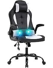 ELemon Ergonomic Office High Back Desk PU Leather Executive Lumbar Support Headrest Armrest PC Racing Computer Task Rolling Swivel Chair, White