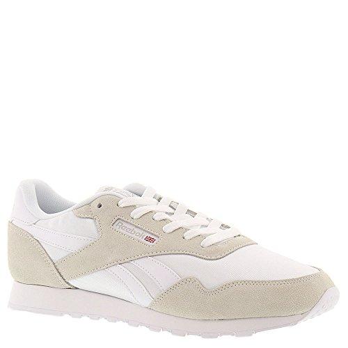 Reebok Women's Royal Nylon Fashion Sneaker, White/White/Steel, 8.5 M US