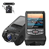 Crosstour Front and Rear Dash Cam FHD 1080P Mini Dual in Car DVR