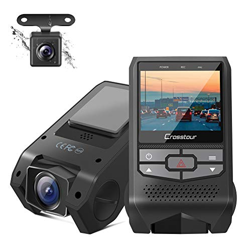 Crosstour Front and Rear Dual Dash Cam FHD 1080P Mini in Car DVR Dashboard Recorder with G-Sensor, HDR, Loop Recording, Motion Detection, Parking Mode, Screen Rotation (CR600)
