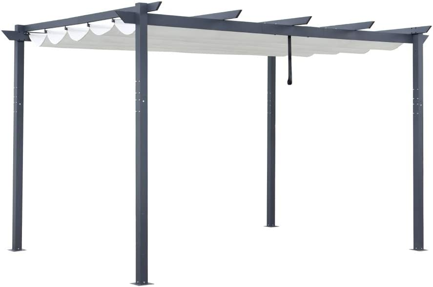 ALEKO PERGWT10X13 Aluminum Outdoor Retractable Canopy Pergola - 13 x 10 Ft - Cream White Color