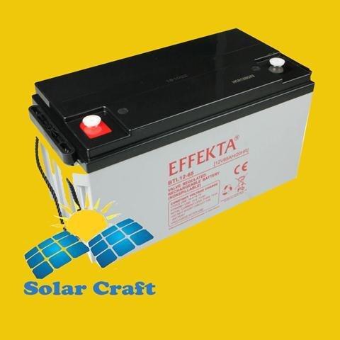 Baterí a Solar 12 V 65 Ah Gel. Panel Solar cargador Energí a photoviltaique EFFEKTA