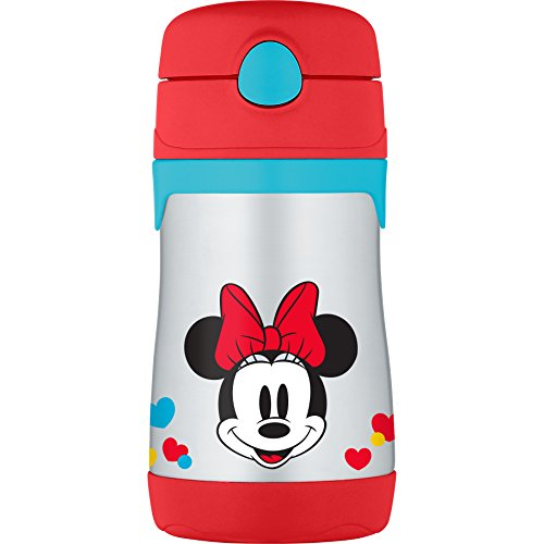 THERMOS Vacuum Insulated Stainless Steel BPA-Free 10-Ounce Straw Bottle, Minnie Mouse
