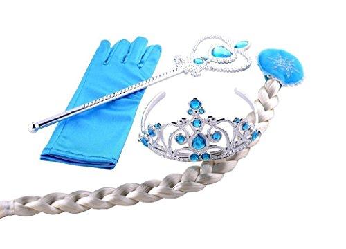 Katara Costume Accessories (Z-Tout Princess Elsa Tiara Braid Wand Blue Gloves Set of 4)