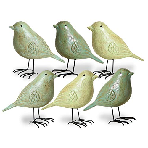 WHW Whole House Worlds Americana Art Birds, Set of 6, Statues, Spring Green Colors, Rubbed Tawny Brown Finish, Black Legs, Figurines, Wood and Metal, Detailed, 5 Inches Each, Vintage Primitive Style