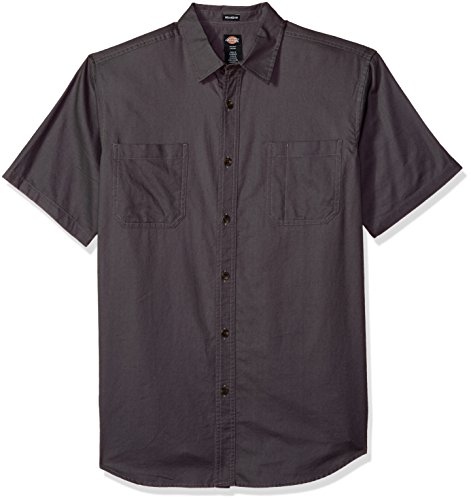 (Dickies Men's Relaxed Fit Solid Short Sleeve Shirt, Charcoal, 2X)
