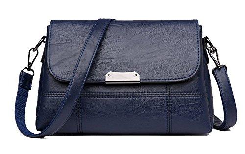 VogueZone009 Femme Sacs fourre-tout Contrast-Stitching Achats Sacs à bandoulière, CCAFBO181607, Noir Bleu