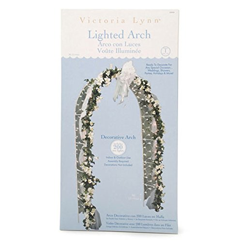 Arch White Finish - Darice 5209-06 Decorative 8-Foot-Tall White Wedding Arch with 200 Netting Lights