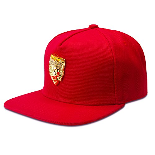 [TUVW Personality Crown Lion Male Hip Hop Hat(Red)] (Pork Pie Hat For Sale)