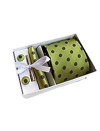 MENDENG Men's Green Brown Polka Dot Necktie Tie Clip Pocket Square Cufflinks Set