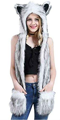 Husky Anime Faux Animal Hood Hoods Paws Ears Mittens Gloves Zipper Pocket ()