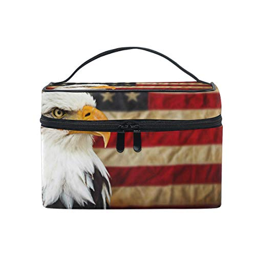 Travel Cosmetic Bag Vintage Eagle USA Flag Toiletry Makeup Bag Pouch Tote Case Organizer Storage For Women Girls