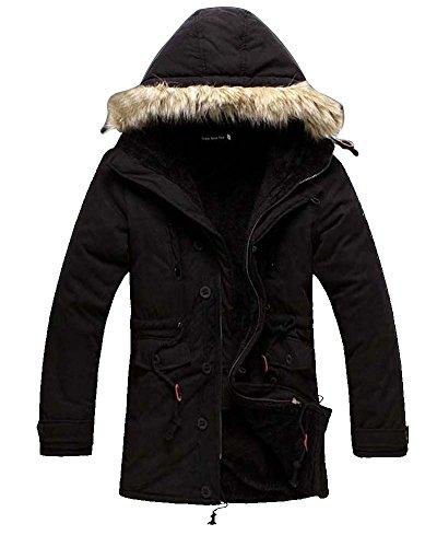 Jacket Coat Long Hooded Classic Collar Mens Black Stand Military Hoodies qwfHPTtZ7x