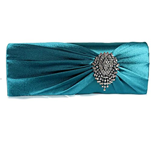 Crystal FREE Ruched UK Turquoise Satin 50 With Gorgeous SAVE DELIVERY Clutch Flower qX60wT5