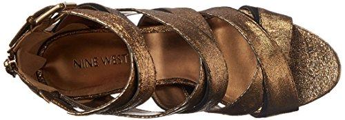 Black Sandal Heeled Nine Women Bronze Leather Bonjorno West awWPxqC0