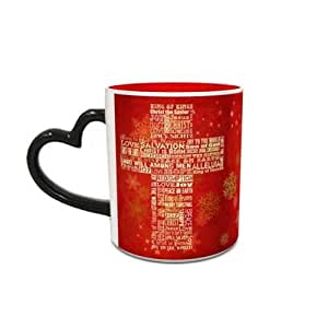 Heat Sensitive Heart Handle Red Ceramic Mug with Christmas Cross Design 488