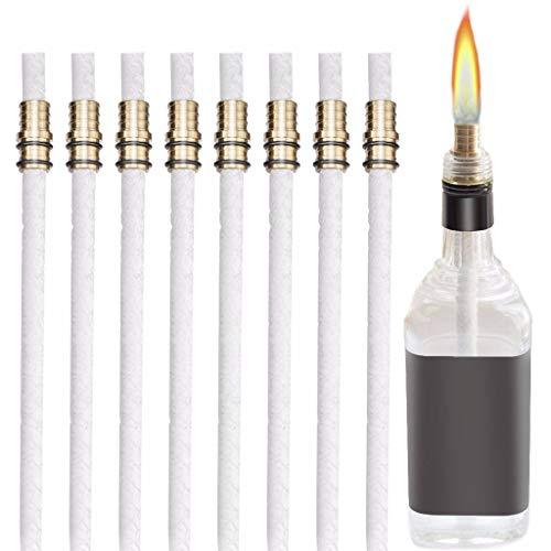 - QUICATCH DIY Bottle Light Wine Bottle Torch Kit 8 Pack Universal for Whiskey Bottle Bourbon Bottle with 8 Pack Brass Mounts(White)