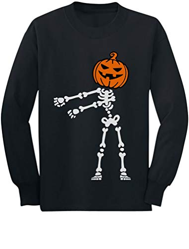 (Halloween Floss Dance Jack O' Lantern Pumpkin Youth Kids Long Sleeve T-Shirt Medium)