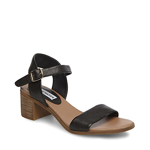 Steve Madden Women's April Heeled Sandal, Black Leather, 7.5 M US