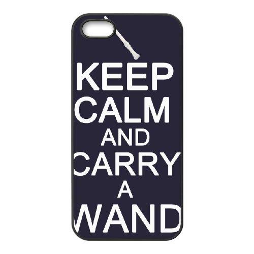 Keep Calm Carry Wand 001 coque iPhone 5 5S cellulaire cas coque de téléphone cas téléphone cellulaire noir couvercle EOKXLLNCD25209